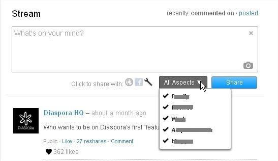 Diaspora Sharing Feature
