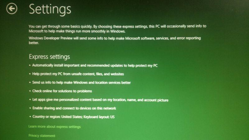 Windows 8 developer Preview installation Settings