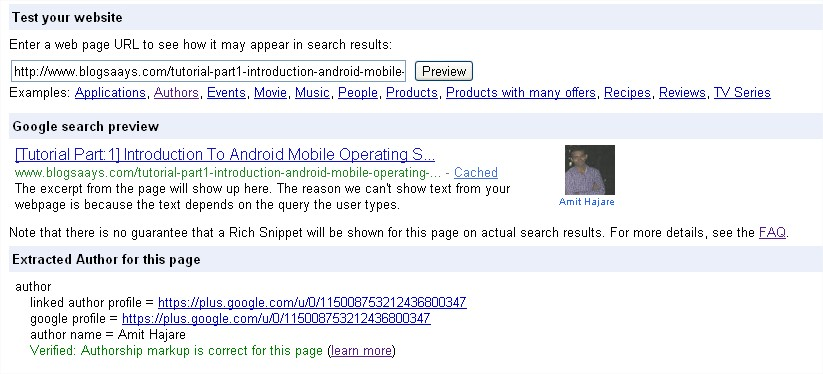 Rich Snippets Testing Tool Author post page