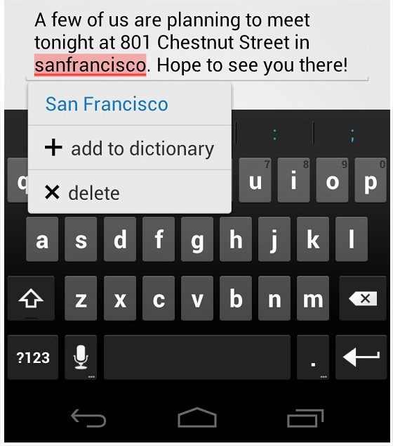 Android 4.0 Ice Cream Sandwich keyboard