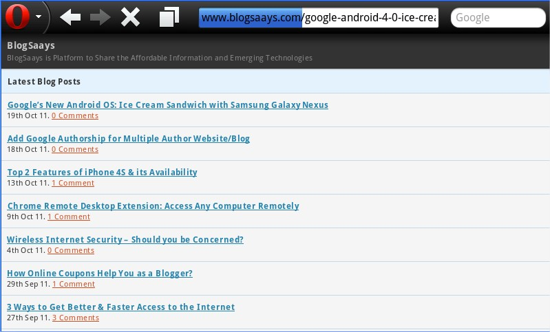 Blogsaays onTablet