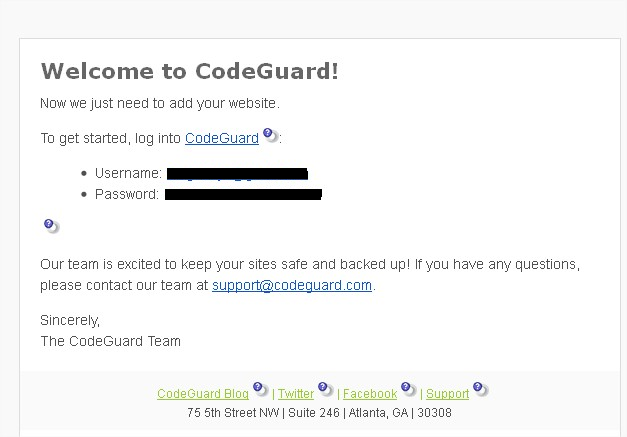 CodeGuard Account Details Email
