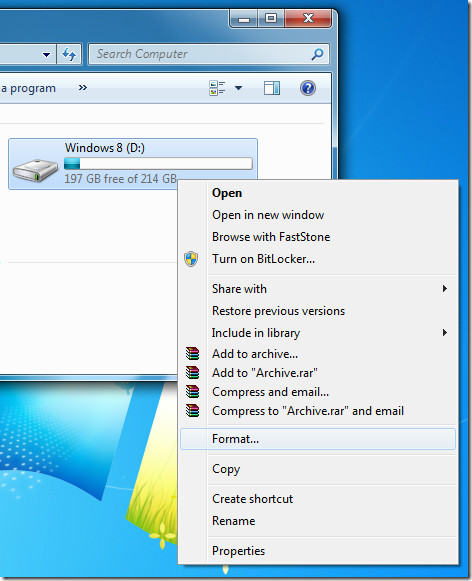 Formatting Windows 8 partition
