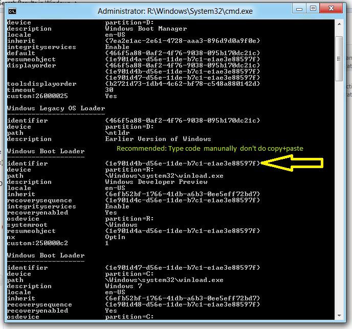Windows 8 boot Identifier code