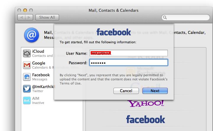 Facebook Mountain Lion Integration