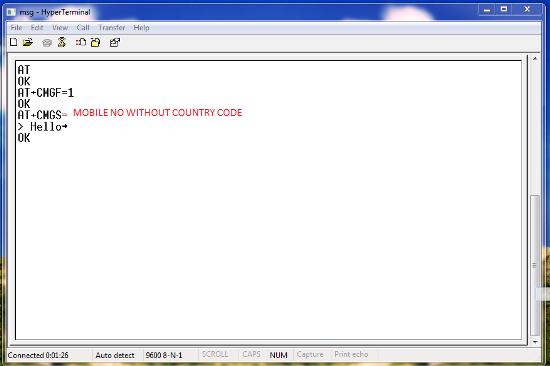 Java SMS send code configration Hyper Terminal