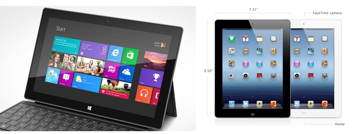 Microsoft Surface Display vs ipad display  Microsoft Surface vs Apple iPad – A Competitors view