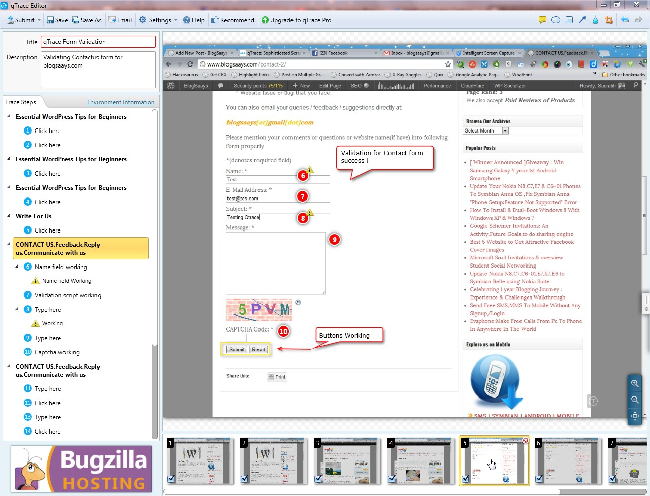 qTrace Editor testing bug report generation