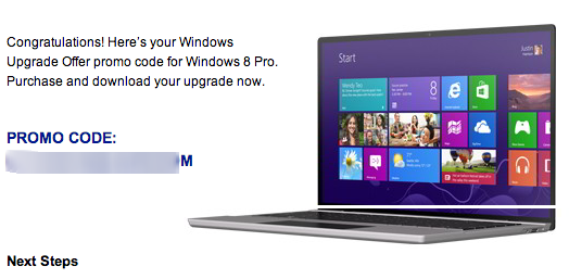 Windows 8 is Promo Code upgrade  Cheap Windows 8 Upgrade Offer: INR 699 / $14.99