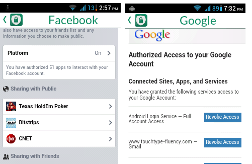 Facebook Google app access revoke