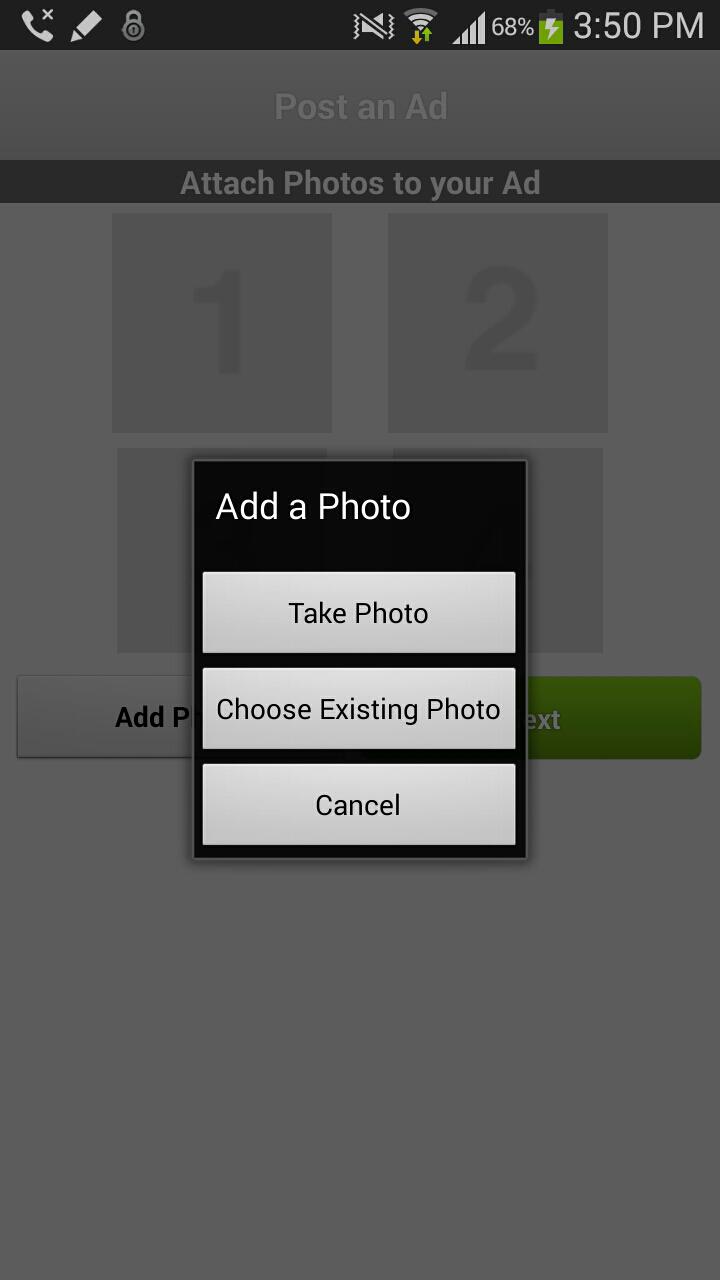 OLX mobile upload pic