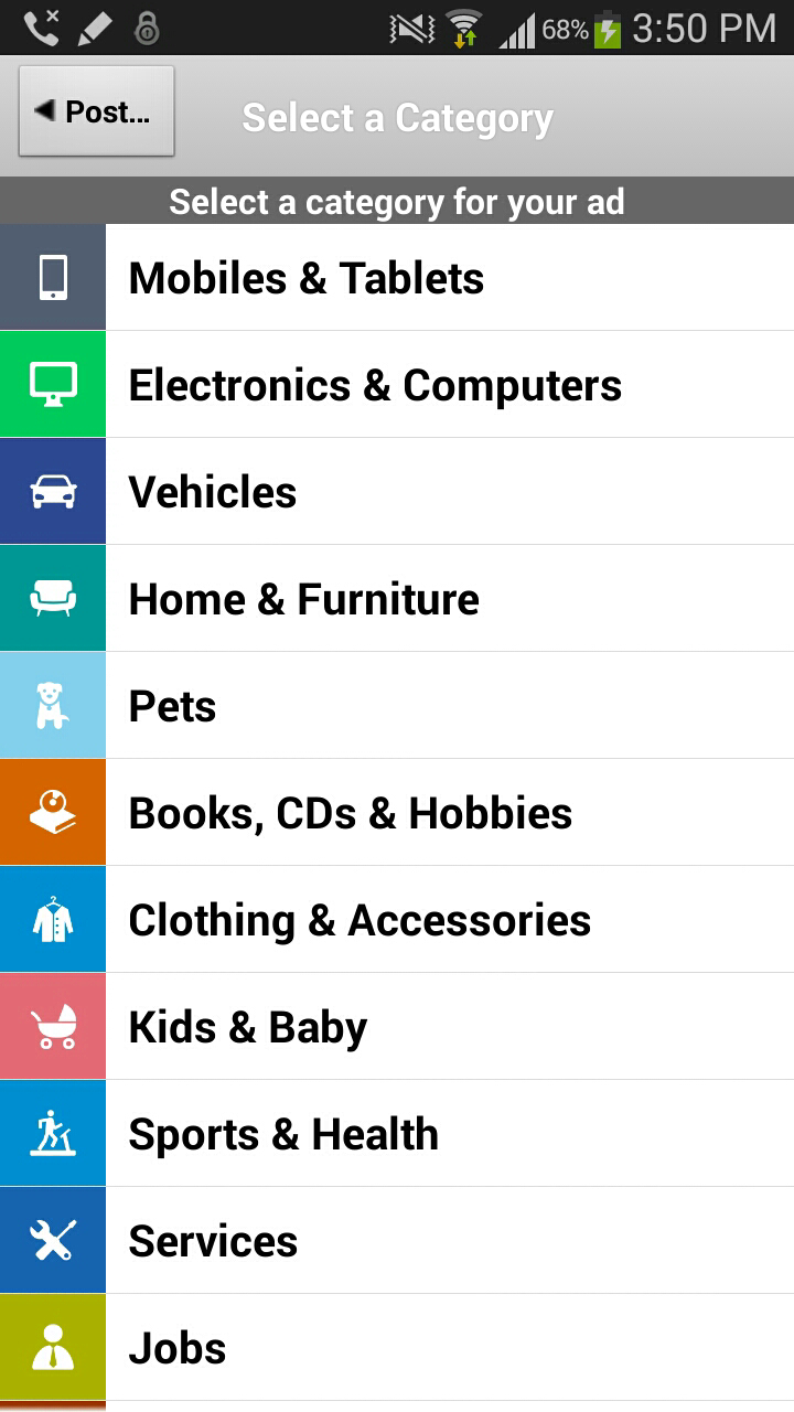 Olx mobile Categories