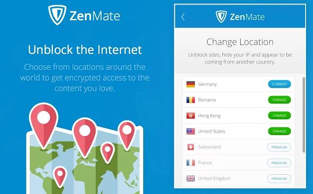 ZenMate VPN Unblock Websites