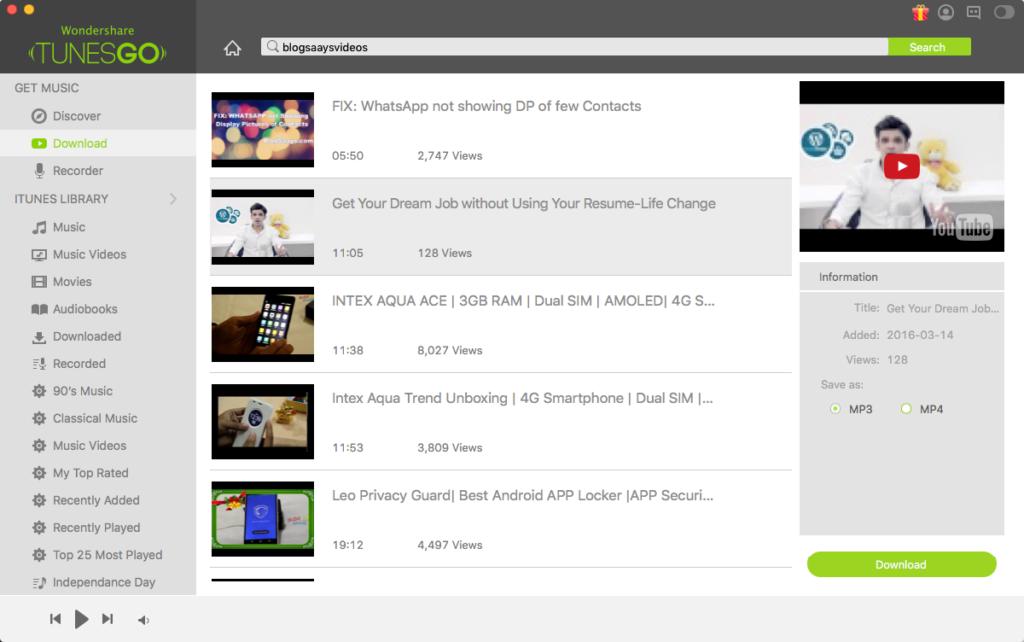 Download Youtube video TunesGo