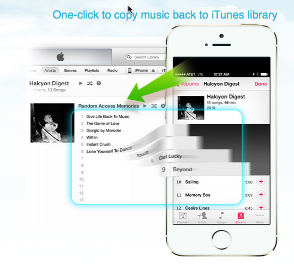 Copy iphone music library