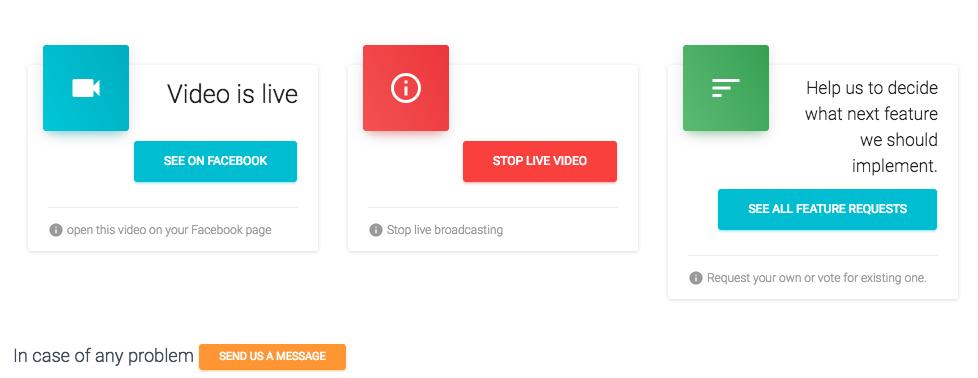 Livereacting Fb Live dashboard control