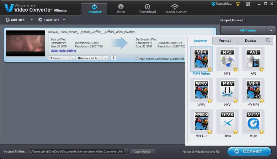 Wondershare Video Converter Ultimate Choose Output Format