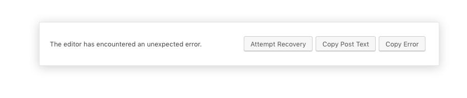 Wordpress Editor error. The editor has encountered an unexpected error.