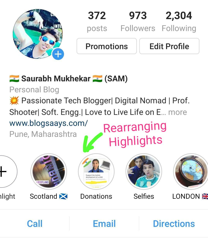 rearrange instagram highlights