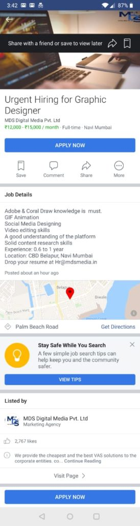 Facebook Job opening page
