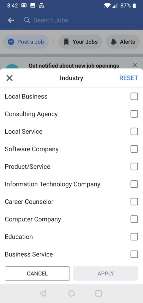 Industry selection at facebook job marketplace