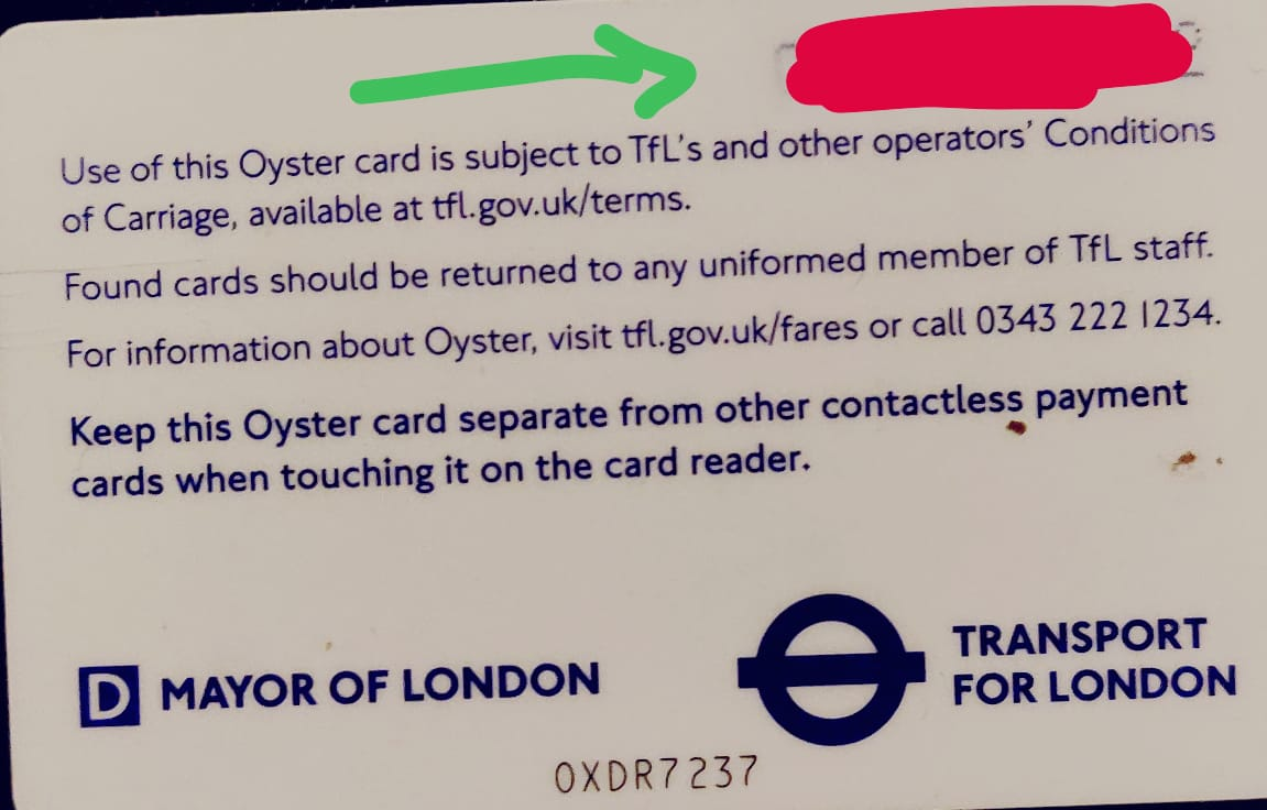 Finding Oyster Card London 12 digit Number