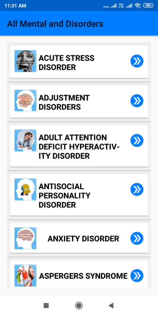 All Mental Disorders and Treatment