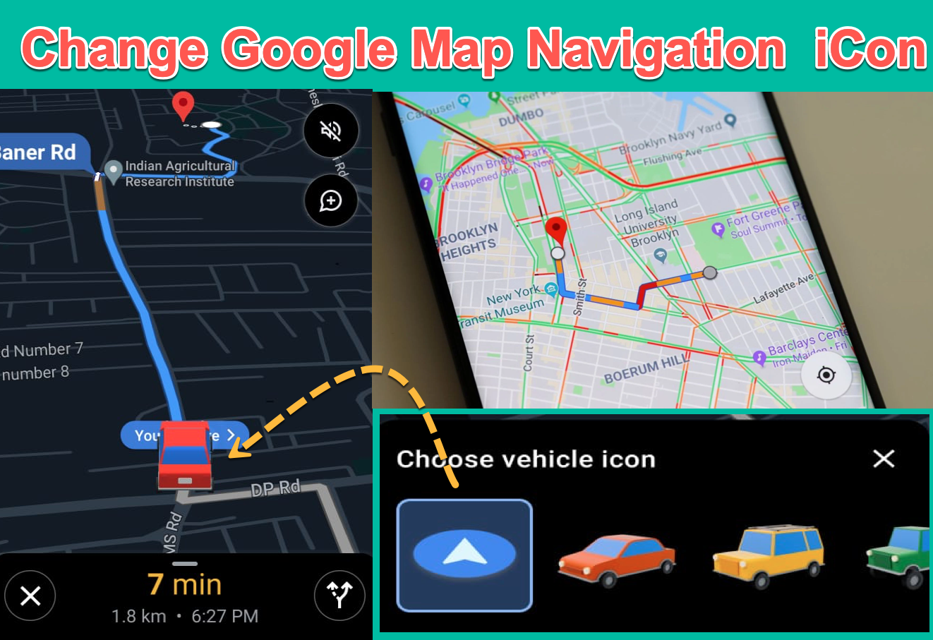 Change Google Map Navigation icon Android