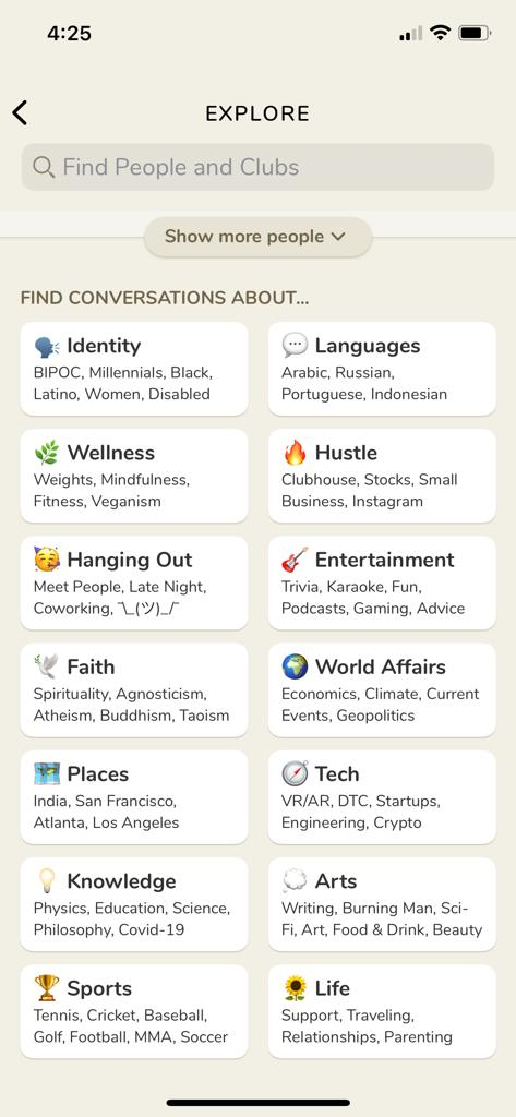 Clubhouse app categories