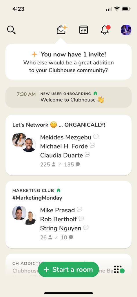 Clubhouse app dashboard