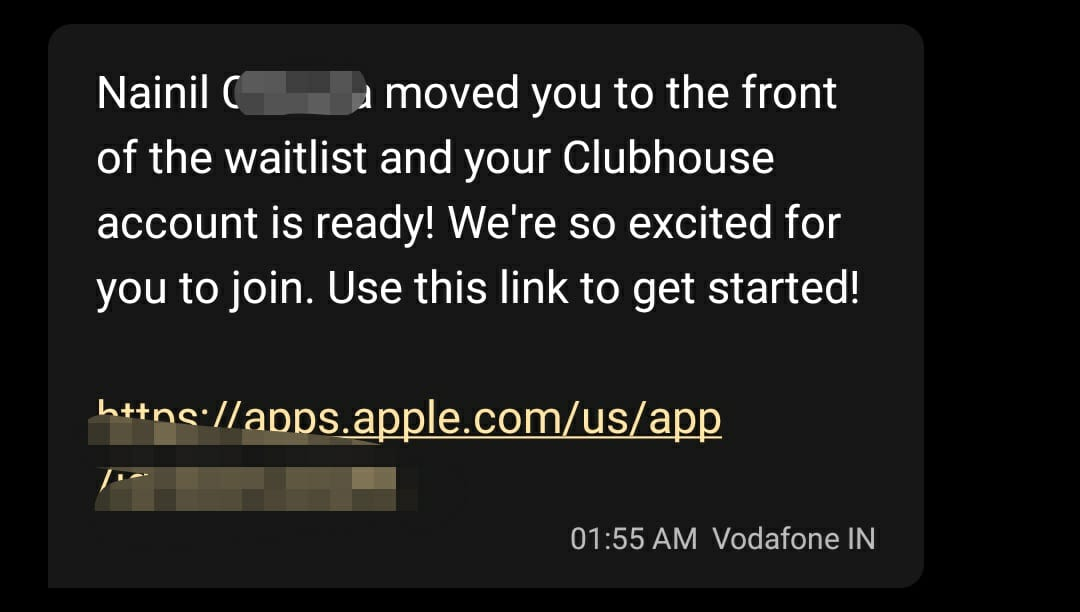 Clubhouse-invite-sms