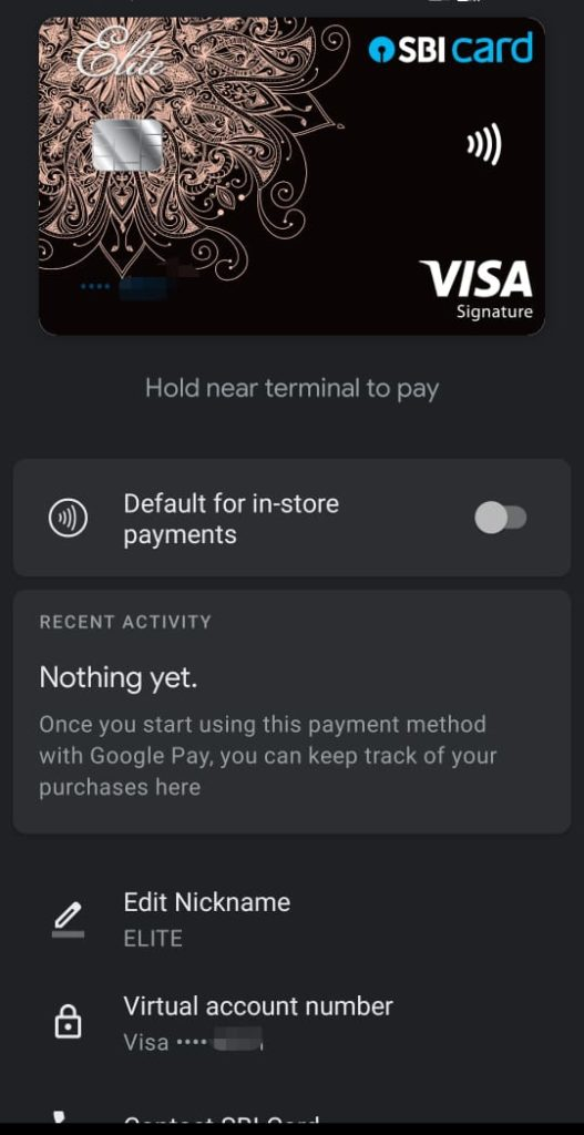 Google Pay -Add credit card options for NFC payments at POS India-default