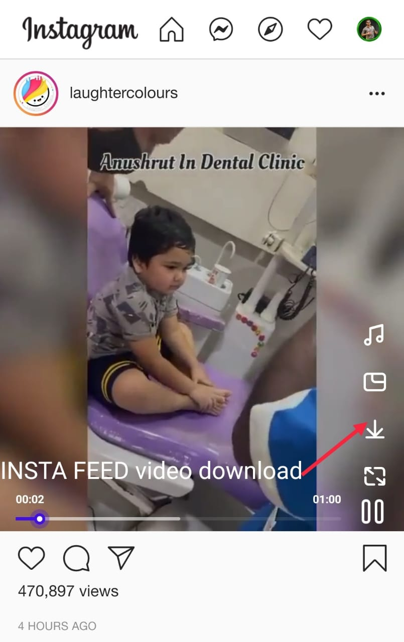 Download INSTA Feed Video process