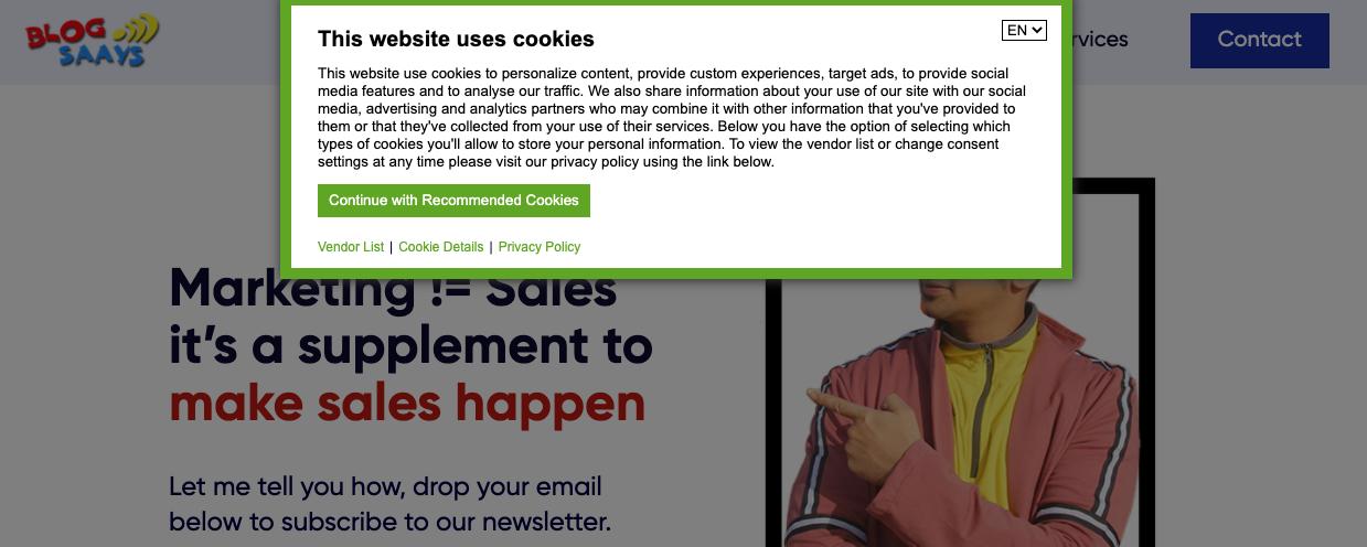 BlogSaays Data cookies consent